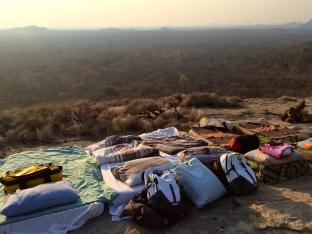 Setting up camp before sundown
